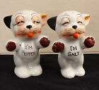 Happy Dogs Salt And Pepper Shaker Set 3 Inches Tall Hand Painted Japan Vintage