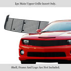 Fits 2010 2013 Chevy Camaro Long Main Upper Stainless Black Billet Grille Insert