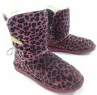 Bearpaw Womens Abigail Lined Suede Toggle Boot Leopard Pink US Size 8