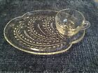 Vintage Federal Glass Hospitality 8pc. Luncheon/Snack Set Homestead Pattern