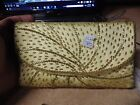 VINTAGE NOS BEADED YELLOW SIDE LADIES CLUTCH PURSE RETRO BUT NEW