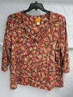 RUBY RD  BROWN  TAN  RED  ORANGE  BEADED  KNIT TOP  SIZE 1X
