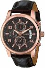 GUESS Men's U0076G4 Stainless Steel Watch Brown Leather Strap Watch