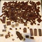 LEGO Lot over 300 Brown Legos Bricks Stairs Round Door Horse Weapons Boat+
