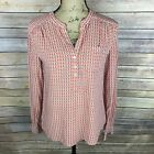 ANN TAYLOR LOFT Womens Size Small Pink White  Army Green Long Sleeve Blouse