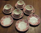 11 PCS VINTAGE JOHNSON BROTHERS STRAWBERRY FAIR CUPS AND SAUCERS ALL CHIPPED
