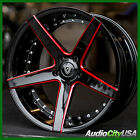 4pcs 20 Staggered MQ 3226 Wheels Black with Red Milled Accents Rims