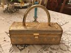 VTG ITALIAN DELILL FLORENTINE GOLD LEAF TOLE WOOD HAND BAG PURSE BOX w LABEL
