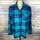 AMERICAN EAGLE Juniors Size Small Green Blue  Pink Long Sleeve Plaid Shirt