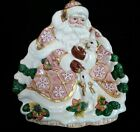 Fitz and Floyd RETIRED Snowy Woods Santa and Bunnies Serving Plate with Box