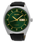 Seiko SNKN69 Men's Recraft Series Black Leather Band Green Dial Automatic Watch