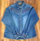 Vtg Wrangler Long Sleeve Western Denim Jean Shirt LARGE Hot Factory Fade SEXY