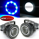 For Edge 3 Round Projector Fog Lamps w 9 Blue LED Halo Light Set