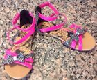 Disney Minnie Mouse Sandals Sz 45 Youth Gladiator Shoes Polka Dot Pink Bow