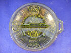 VINTAGE GREEN PRESSED GLASS RELISH DISH WITH HANDLE 7 1/2