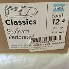 Toms Classics Youth Perforated Shoes  Youth size 125  Seafoam  New in Box