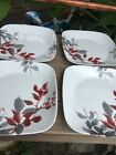 4-pk CORELLE Boutique KYOTO LEAVES lunch plate Japanese Watercolor Red Gray