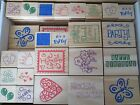 WHOLESALE LOT WOOD RUBBER STAMPS 64 STAMPS NEW CRAFT FAIR FLEA MARKET PRIZES