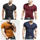 Fashion Mens Casual Tops T Shirt Short Sleeve V Neck Slim Fit Muscle Shirts Tee