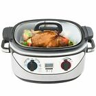 Electric Slow Cooker Programmable 8in1 Multi Cook 5.5L Stainless Steel Oval Pot