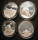 1989 Silver Marshall Islands 1oz Proof $50 Coins -4 Man On The Moon/Exploration