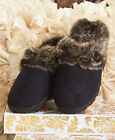 The Lakeside Collection Black Memory Foam Slippers