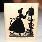 Stampin Up Victorian Girl Woman Mailing Letter Rubber Stamp Retired 2001