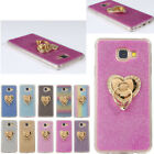 Bling Glitter Crystal Clear Soft TPU Rubber Case Ring Stand Cover For Various