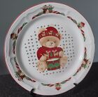 Tienshan Christmas Holiday Theodore Teddy Bear Dinner Plate (s) Green Present