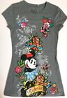 Minnie Mouse Disney Sequined Gray Cotton Tee T-Shirt Short Sleeve Junior S - 3/5