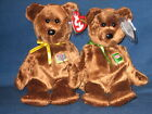 TY WILLIAM  'OPEN & CLOSED BOOK'  BEANIE BABY BEAR SET - MINT with MINT TAGS