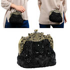 Vintage Beaded Bag Purse  Party Prom Clutch Make Up Bag Handbag Black