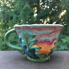 Tracy Porter Citrine Collection Tea Cup Mug Hand Painted Floral Leaves 8 Oz.