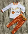 Pumpkin Spice Sequin Outfit Halloween Harvest Fall Boutique Pageant Orange NEW
