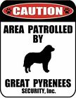 Caution Area Patrolled by a Great Pyrenees 9 inch x 115 inch Laminated Dog Sign