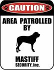 Caution Area Patrolled by a Mastiff 9 inch x 115 inch Laminated Dog Sign