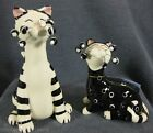 Whimsiclay Amy Lacombe Sal & Pippa Salt & Pepper Shakers Set Black & White Cats