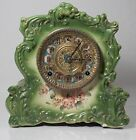 Antique Gilbert 438 Porcelain Case Clock Beautiful Green w Original Movement