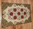 Antique American Roses Hand Made Hooked Rectangle Throw Rug Wool on Burlap