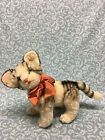 Steiff mid century Cat Jointed Legs  Head green eyes Mohair Germany BW tiger