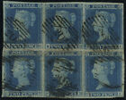 1841 2d blue Plate 4 block of six London barred oval district numeral 20