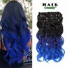 """Creamily(TM) Natural Black To Hyacinth To Blue 18"""" Wavy Clip in Hair Extensions"""