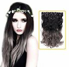 Creamily(TM) Natural Black To Dark Grey For Full Head Synthetic Clip In Hair