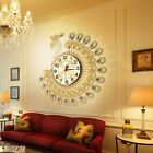 Creative Gold Peacock Large Wall Clock Metal Living Room Watch Home Decor Hot