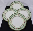 SET OF 4 FITZ AND FLOYD CHINA WINTER HOLIDAY GARLAND SALAD PLATES - NEW