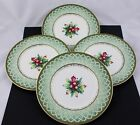 SET OF 4 FITZ AND FLOYD CHINA WINTER HOLIDAY GREEN WREATH SALAD PLATES - NEW