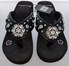 Montana West Rustic CoutBlack Flip Flops Women Wedge Sole Sandals Bling Concho