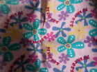 36 X 16 FLANNEL FABRIC REMNANT PINK PURPLE MULTI COLORED FLOWERS PRINCESS NEW