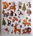 Christmas Penguin Fox Raccoon Animals Christmas Cards Foil Accents HL Stickers