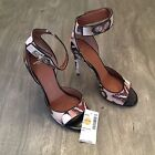 Givenchy Leather Butterfly Heels w Shark Lock Ankle Straps Sz 95 MSRP 1340
